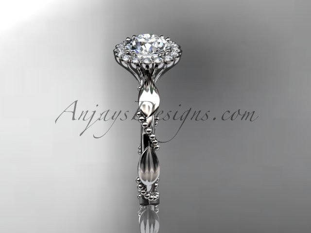 "14kt white gold diamond leaf and vine wedding ring, engagement ring with a ""Forever One"" Moissanite center stone ADLR337 - AnjaysDesigns"