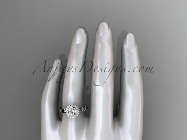 "Platinum diamond leaf and vine wedding ring, engagement ring with a ""Forever One"" Moissanite center stone ADLR337 - AnjaysDesigns"
