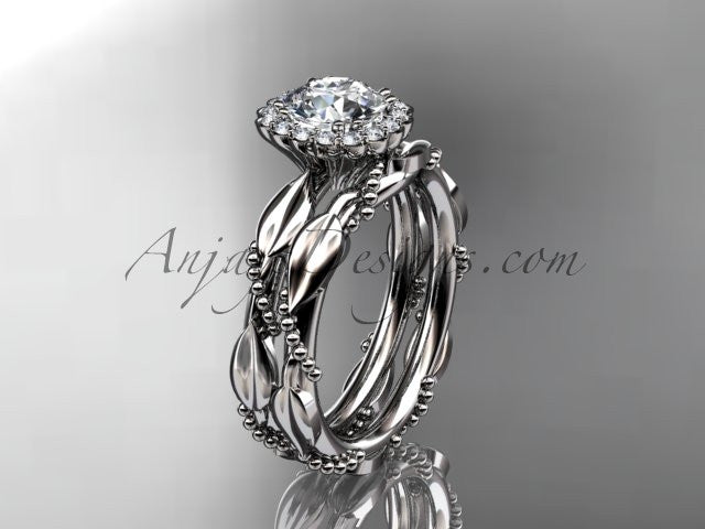 14kt white gold diamond leaf and vine wedding set, engagement set ADLR337 - AnjaysDesigns