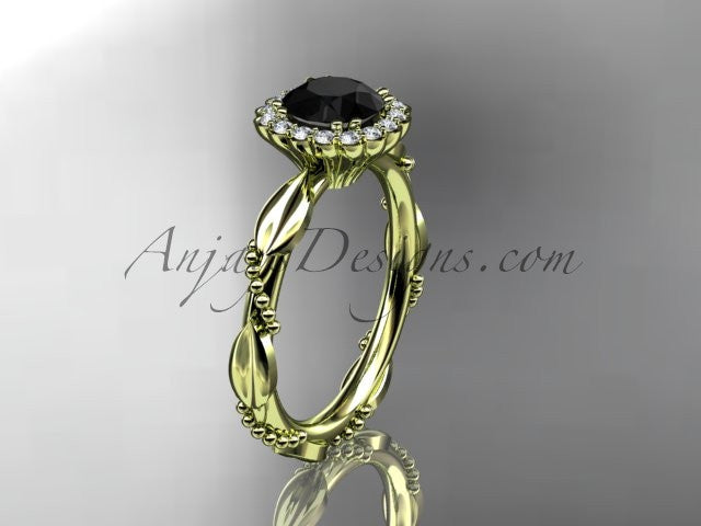 14kt yellow gold diamond leaf and vine wedding ring, engagement ring with a Black Diamond center stone ADLR337 - AnjaysDesigns