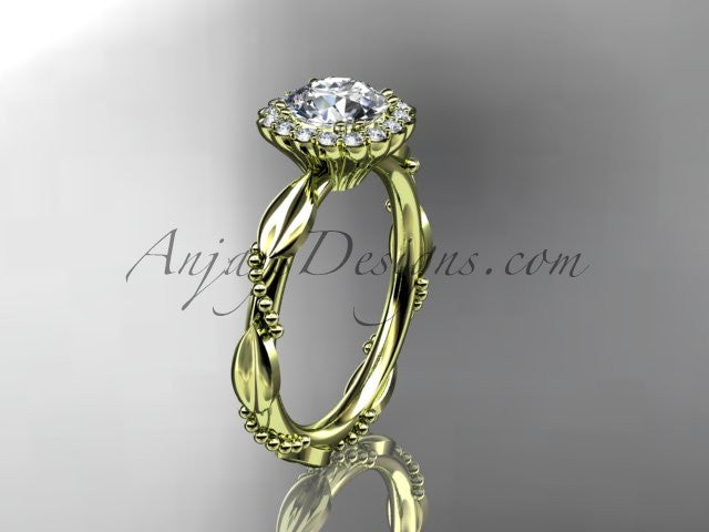 14kt yellow gold diamond leaf and vine wedding ring, engagement ring ADLR337 - AnjaysDesigns