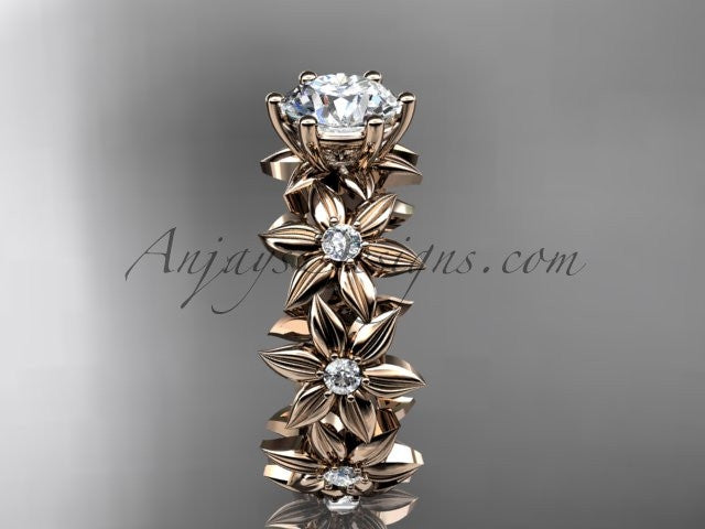"Unique 14k rose gold diamond floral engagement ring with a ""Forever One"" Moissanite center stone ADLR339 - AnjaysDesigns"
