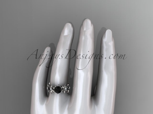 Unique 14k white gold diamond floral engagement ring with a Black Diamond center stone ADLR339 - AnjaysDesigns