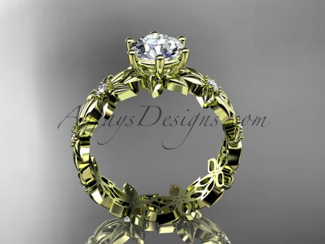"Unique 14k yellow gold diamond floral engagement ring with a ""Forever One"" Moissanite center stone ADLR339 - AnjaysDesigns"