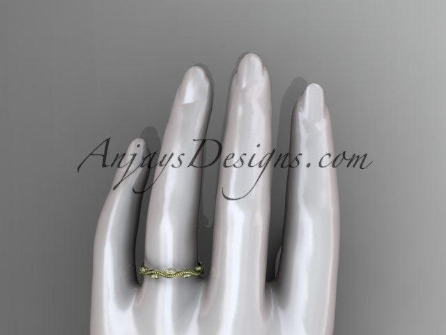 14k yellow gold diamond leaf and vine engagement ring, wedding band ADLR33B - AnjaysDesigns