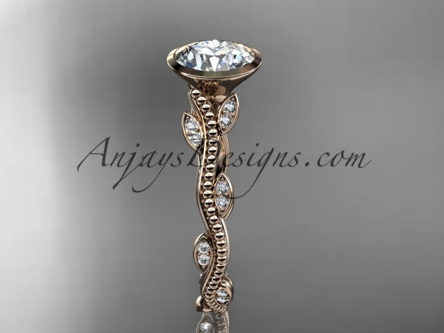 14k rose gold diamond leaf and vine wedding ring, engagement ring ADLR33 - AnjaysDesigns, Unique Engagement Rings - Jewelry, Anjays Designs - AnjaysDesigns, AnjaysDesigns - AnjaysDesigns.co,
