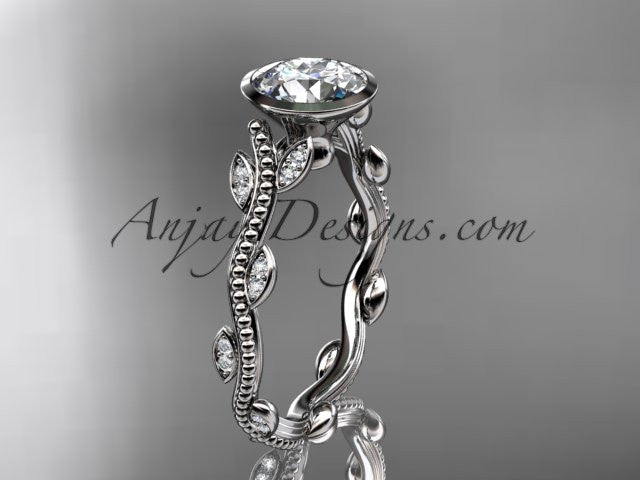 "Platinum diamond leaf and vine wedding ring, engagement ring with ""Forever One"" Moissanite center stone ADLR33 - AnjaysDesigns"