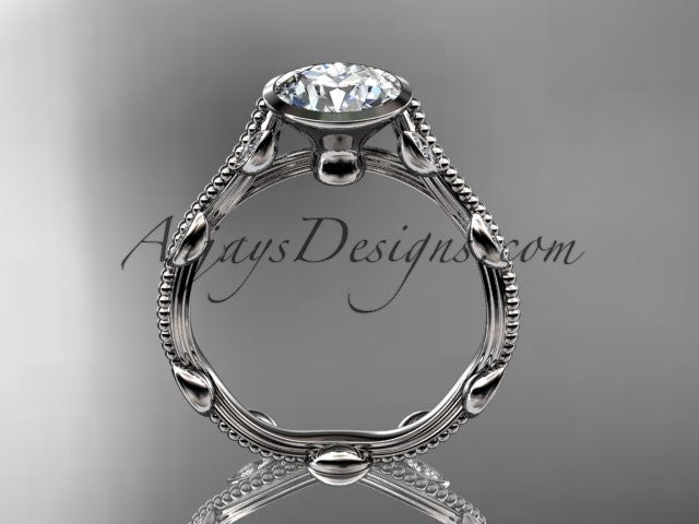 "14k white gold diamond leaf and vine wedding ring, engagement ring with ""Forever One"" Moissanite center stone ADLR33 - AnjaysDesigns"