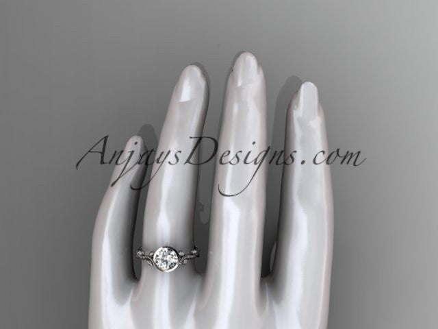 14k white gold diamond leaf and vine wedding ring, engagement ring ADLR33 - AnjaysDesigns