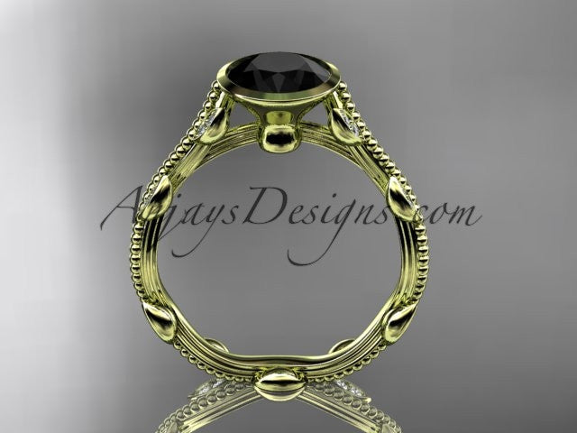14k yellow gold diamond leaf and vine wedding ring, engagement ring with Black Diamond center stone ADLR33 - AnjaysDesigns