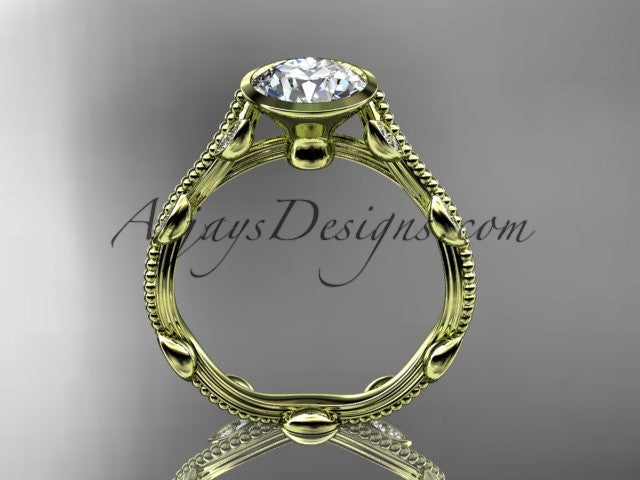 14k yellow gold diamond leaf and vine wedding ring, engagement ring ADLR33 - AnjaysDesigns