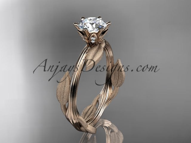 "Unique 14k rose gold leaf and vine engagement ring, wedding ring with a ""Forever One"" Moissanite center stone ADLR343 - AnjaysDesigns"