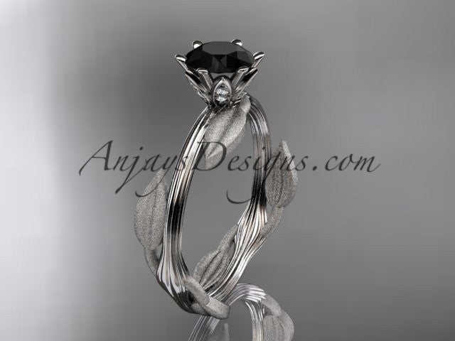 Unique 14k white gold leaf and vine engagement ring, wedding ring with a Black Diamond center stone ADLR343 - AnjaysDesigns