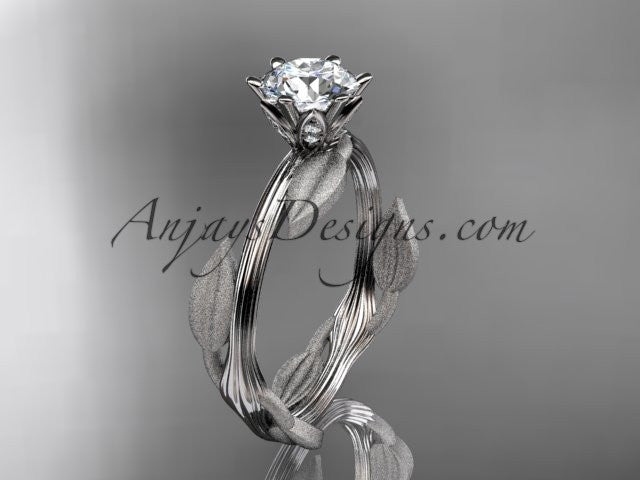 "Unique platinum leaf and vine engagement ring, wedding ring with a ""Forever One"" Moissanite center stone ADLR343 - AnjaysDesigns"