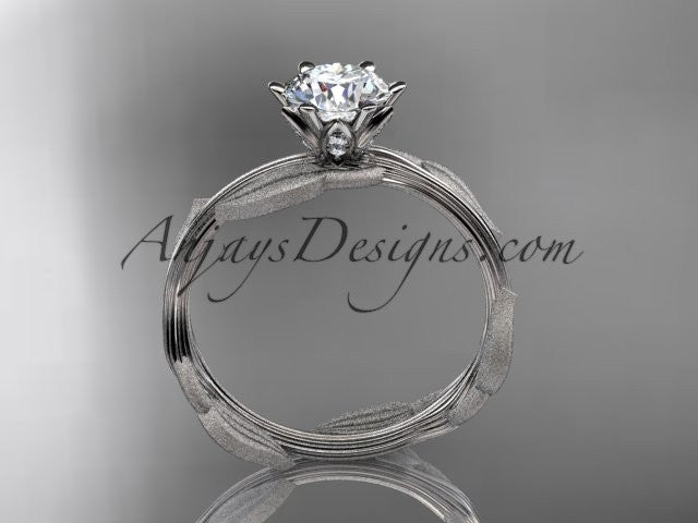 "Unique 14k white gold leaf and vine engagement ring, wedding ring with a ""Forever One"" Moissanite center stone ADLR343 - AnjaysDesigns"