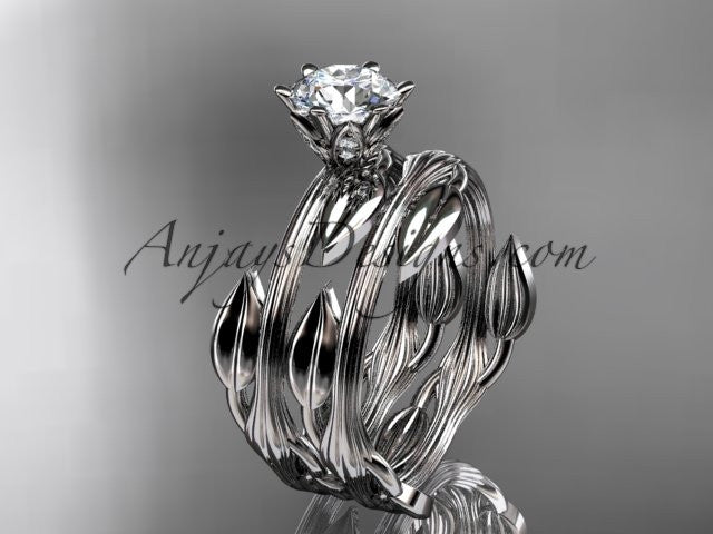 "platinum leaf and vine wedding ring, engagement set with a ""Forever One"" Moissanite center stone ADLR343S - AnjaysDesigns"