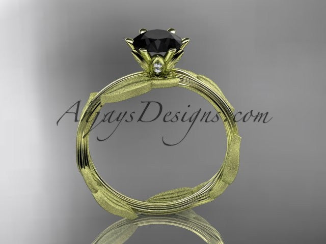 Unique 14k yellow gold leaf and vine engagement ring, wedding ring with a Black Diamond center stone ADLR343 - AnjaysDesigns