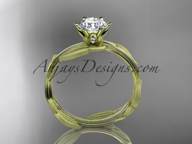 "Unique 14k yellow gold leaf and vine engagement ring, wedding ring with a ""Forever One"" Moissanite center stone ADLR343 - AnjaysDesigns"