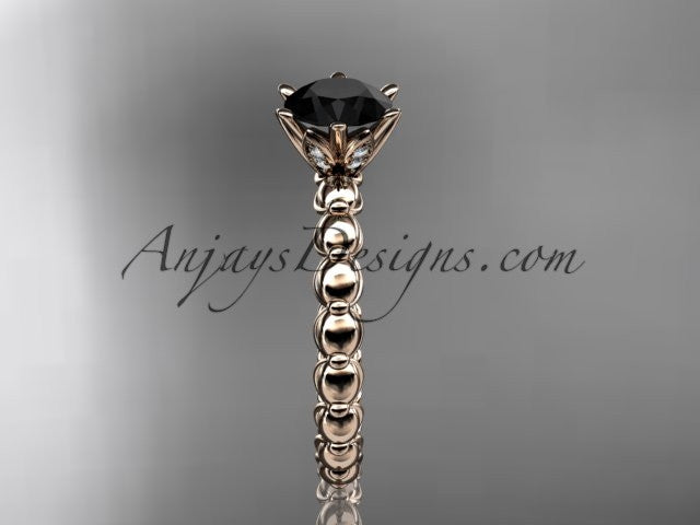 14k rose gold diamond vine and leaf wedding ring, engagement ring with Black Diamond center stone ADLR34 - AnjaysDesigns
