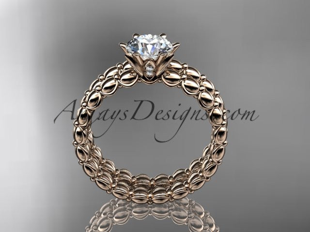 "14k rose gold diamond wedding ring, engagement set with a ""Forever One"" Moissanite ADLR34S - AnjaysDesigns"
