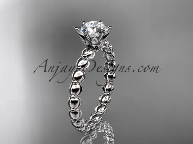 Platinum diamond vine and leaf wedding ring, engagement ring ADLR34 - AnjaysDesigns