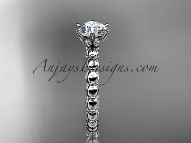 "14k white gold diamond vine and leaf wedding ring, engagement ring with ""Forever One"" Moissanite center stone ADLR34 - AnjaysDesigns"