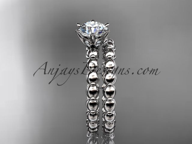 "14k white gold diamond wedding ring, engagement set with a ""Forever One"" Moissanite ADLR34S - AnjaysDesigns"