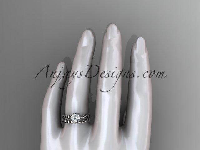 14k white gold diamond wedding ring, engagement set ADLR34S - AnjaysDesigns