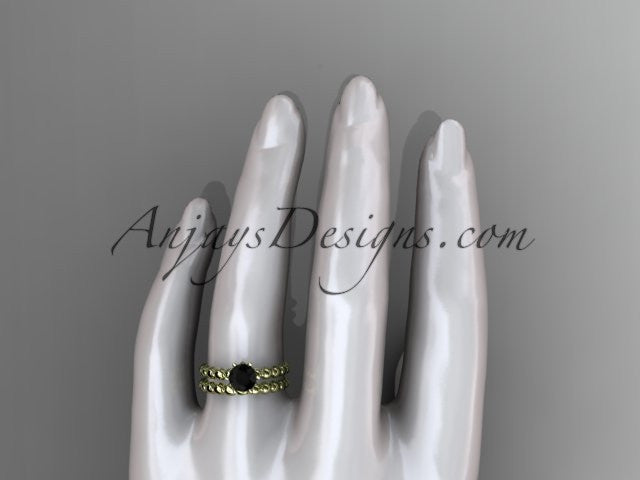 14k yellow gold diamond wedding ring, engagement set with a Black Diamond center stone ADLR34S - AnjaysDesigns