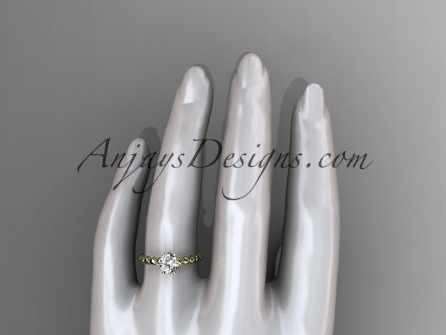14k yellow gold diamond vine and leaf wedding ring, engagement ring ADLR34 - AnjaysDesigns