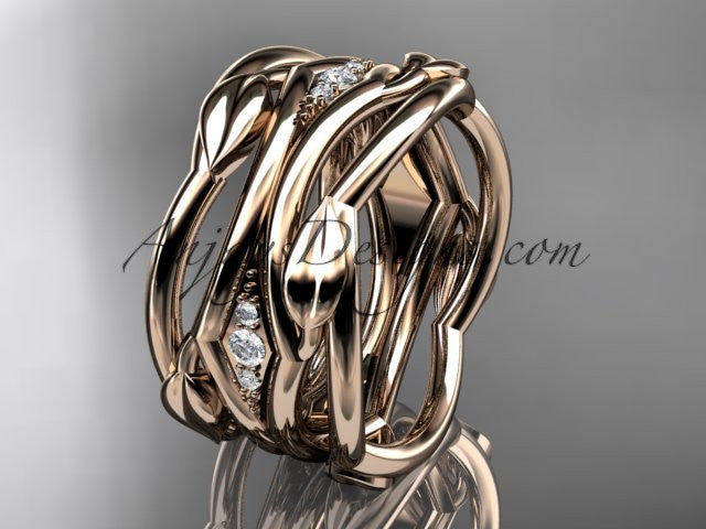 14kt rose gold leaf and vine wedding ring, wedding band ADLR351B - AnjaysDesigns