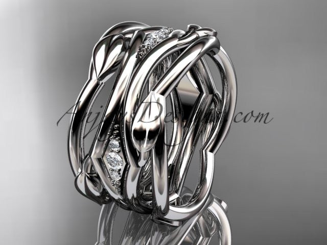 14kt white gold leaf and vine wedding ring, wedding band ADLR351B - AnjaysDesigns