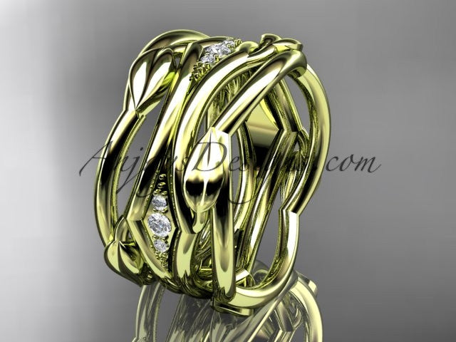 14kt yellow gold leaf and vine wedding ring, wedding band ADLR351B - AnjaysDesigns