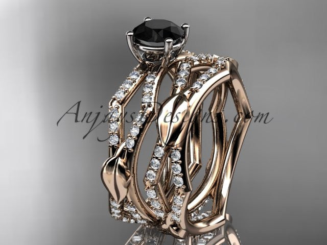 14k rose gold diamond leaf and vine wedding ring, engagement set with a Black Diamond center stone ADLR353S - AnjaysDesigns, Black Diamond Engagement Sets - Jewelry, Anjays Designs - AnjaysDesigns, AnjaysDesigns - AnjaysDesigns.co,