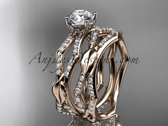 "14k rose gold diamond leaf and vine wedding ring, engagement set with a ""Forever One"" Moissanite center stone ADLR353S - AnjaysDesigns, Moissanite Engagement Sets - Jewelry, Anjays Designs - AnjaysDesigns, AnjaysDesigns - AnjaysDesigns.co,"