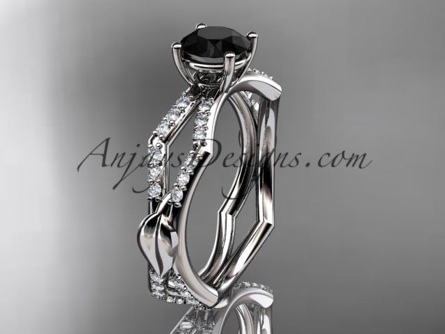 platinum diamond leaf and vine wedding ring,engagement ring with a Black Diamond center stone ADLR353 - AnjaysDesigns