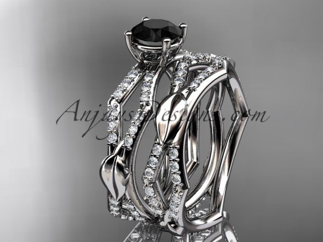 platinum diamond leaf and vine wedding ring, engagement set with a Black Diamond center stone ADLR353S - AnjaysDesigns