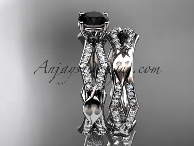 14k white gold diamond leaf and vine wedding ring, engagement set with a Black Diamond center stone ADLR353S - AnjaysDesigns