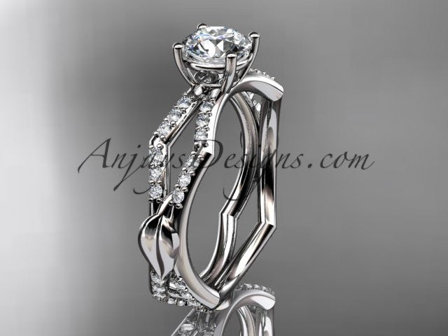 "platinum diamond leaf and vine wedding ring,engagement ring with a ""Forever One"" Moissanite center stone ADLR353 - AnjaysDesigns"