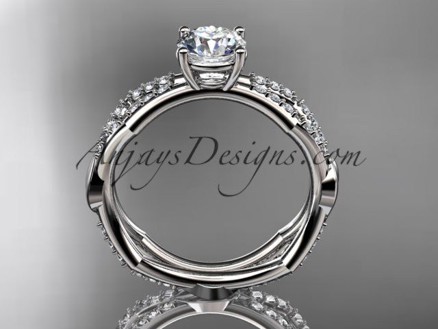 "14k white gold diamond leaf and vine wedding ring,engagement ring with a ""Forever One"" Moissanite center stone ADLR353 - AnjaysDesigns"