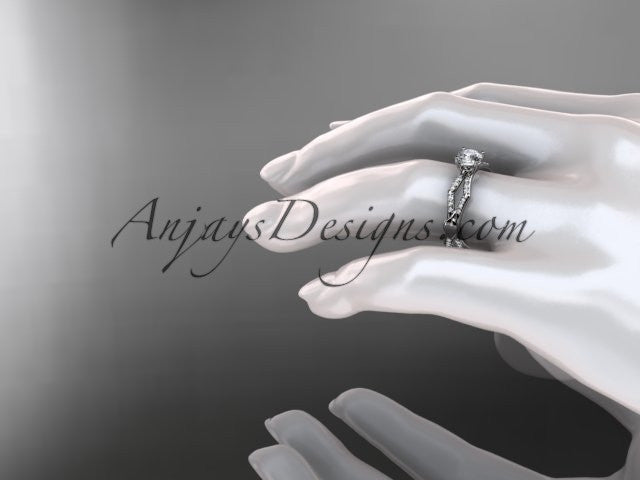 14k white gold diamond leaf and vine wedding ring,engagement ring ADLR353 - AnjaysDesigns