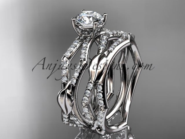 "platinum diamond leaf and vine wedding ring, engagement set with a ""Forever One"" Moissanite center stone ADLR353S - AnjaysDesigns"