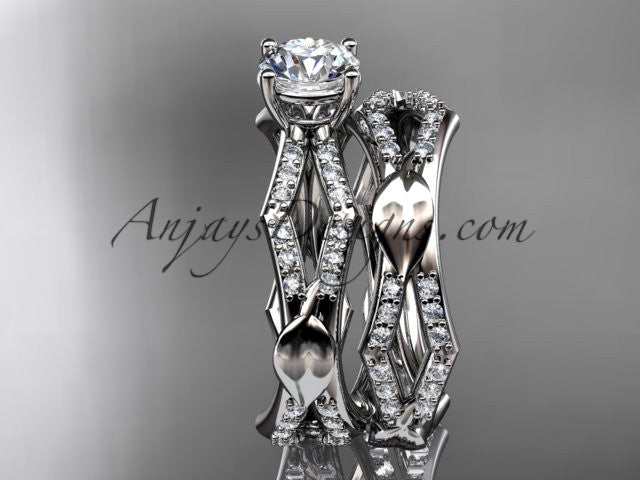 platinum diamond leaf and vine wedding ring, engagement set ADLR353S - AnjaysDesigns
