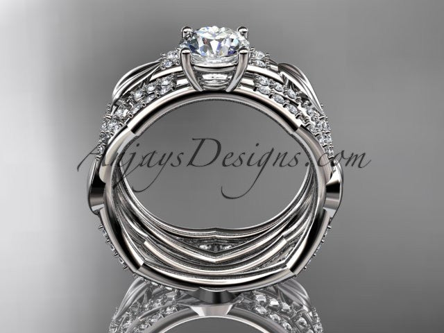 "14k white gold diamond leaf and vine wedding ring, engagement set with a ""Forever One"" Moissanite center stone ADLR353S - AnjaysDesigns"