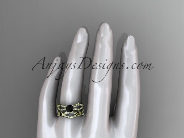 14k yellow gold diamond leaf and vine wedding ring, engagement set with a Black Diamond center stone ADLR353S - AnjaysDesigns
