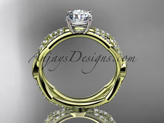 "14k yellow gold diamond leaf and vine wedding ring,engagement ring with a ""Forever One"" Moissanite center stone ADLR353 - AnjaysDesigns"