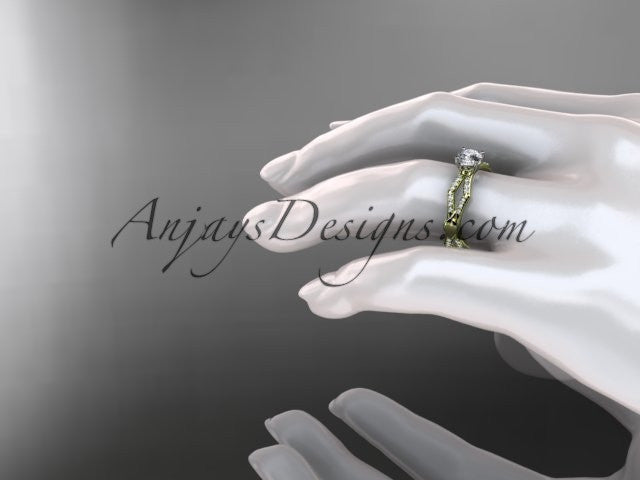 14k yellow gold diamond leaf and vine wedding ring,engagement ring ADLR353 - AnjaysDesigns