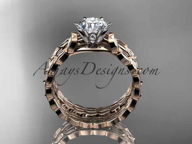 "14k rose gold diamond vine and leaf wedding ring, engagement set with a ""Forever One"" Moissanite center stone ADLR35S - AnjaysDesigns"