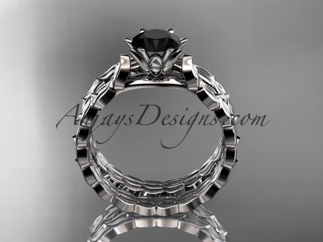 14k white gold diamond vine and leaf wedding ring, engagement set with a Black Diamond center stone ADLR35S - AnjaysDesigns