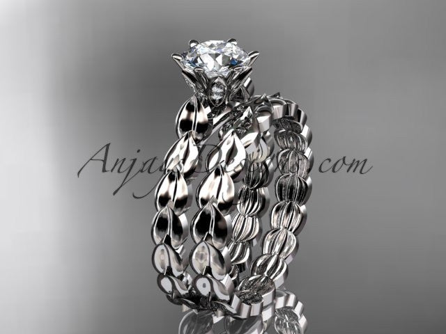 14k white gold diamond vine and leaf wedding ring, engagement set ADLR35S - AnjaysDesigns